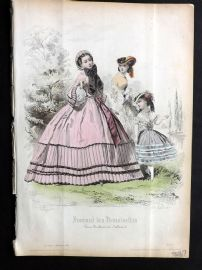 Journal des Demoiselles C1850 Antique Hand Col Fashion Print 61